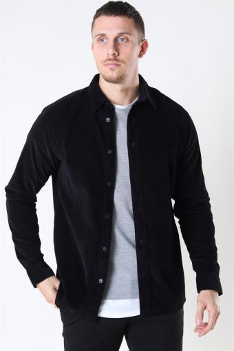 Reg Henley Fløjls Shirt LS Black