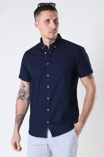 Johan seersucker s/s shirt Navy