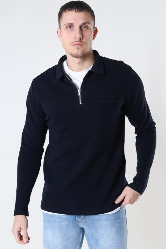 Josh Cotton half zip knit Navy