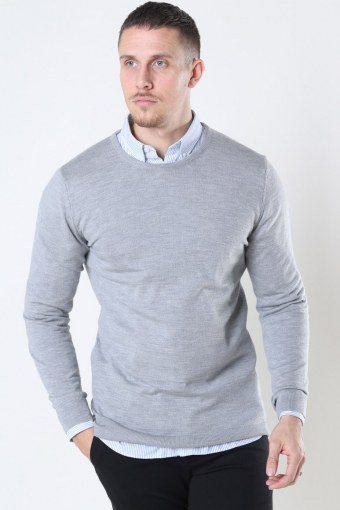 Merino Wool Crew Neuloa Light Grey Mel