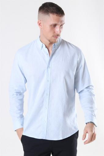 Clean Cut Cotton Linen Shirt Sky Blue