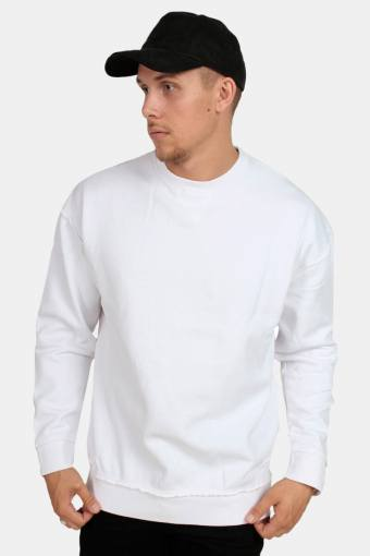 Oversized Open Edge Crew Sweatshirts White