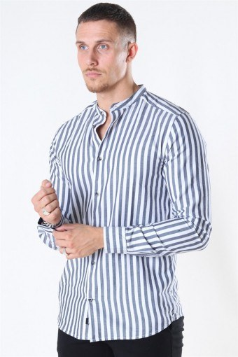 Edwin Life LS Stripe Mandarine Shirt Dark Navy