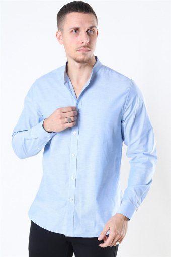 Clean Cut Oxford Stretch Mao L/S Shirt Light Blue