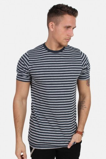 T-shirt Striped Oxford Grey/Heather Blue