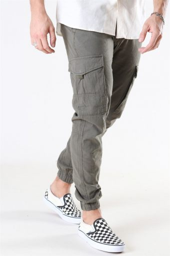 Paul Flake Linen Cargo Pants Olive Night