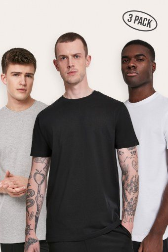 Basic Tee 3-Pack Black/White/Grey