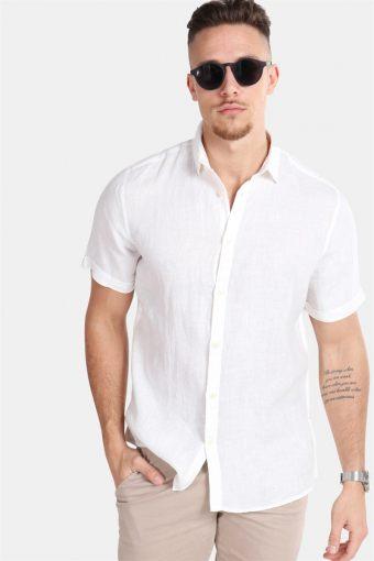 Caiden SS Linen Shirt R White