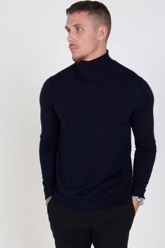 Merino Rullekrave Knit Navy Blazer