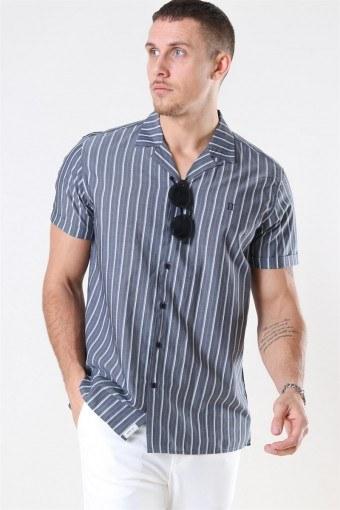 Mathieu SS Shirt Charcoal/Petrol Blue