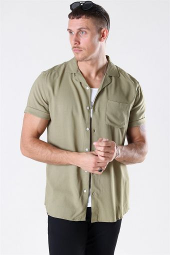 Silo Solid Viscose Shirt S/S Dried Herb