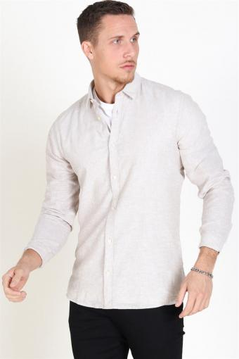 Caiden LS Solid Linen Shirt Chinchilla