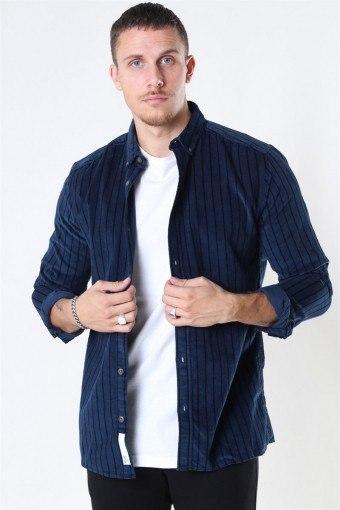 Edward Striped Corduroy Shirt Dress Blues