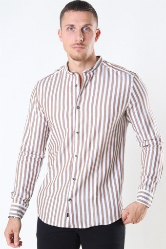 Edwin Life LS Stripe Mandarine Shirt Monks Robe
