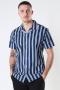 Kronstadt Cuba printed stripe s/s shirt Navy
