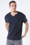 Jack & Jones JJESPLIT NECK TEE SS NOOS Black Slim